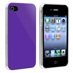 BasAcc Dark Purple with Clear Side Snap-on Case for Apple iPhone 4/ 4S