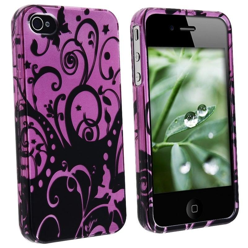 LUXMO Purple/ Black Swirl Snap-on Case for Apple iPhone 4/ 4S