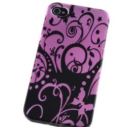 LUXMO Purple/ Black Swirl Snap-on Case for Apple iPhone 4/ 4S