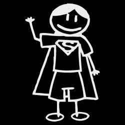 Vinyl Letter Decor Boy Hero Stick Figure Car Decal