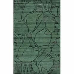 nuLOOM Handmade Bold Floral Green Wool Rug (5' x 8')