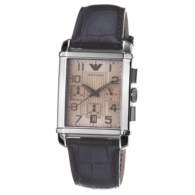 Emporio Armani Mens Classic Brown Dial Quartz Chronograph Watch