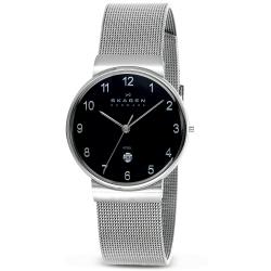 Skagen Men's Black Dial Stainless Steel Mesh Band Watch