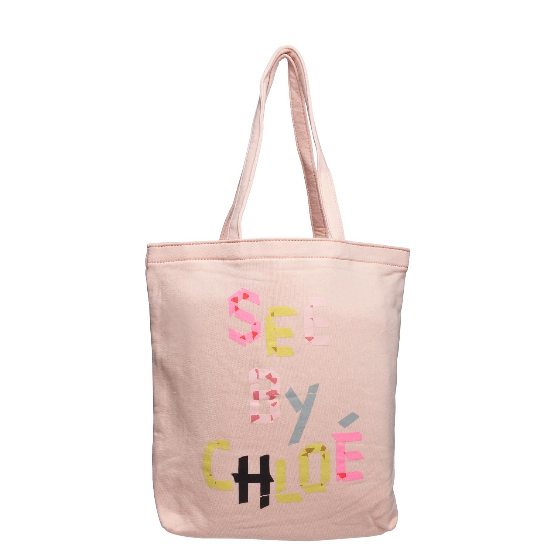 See by Chloe 9S7116 N173 533 Pink Canvas Tote Bag