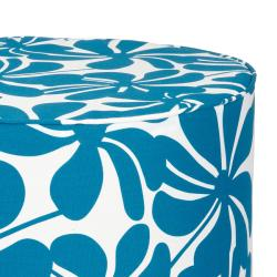 Brooklyn 22-inch Round Turquoise Floral Indoor/Outdoor Ottoman