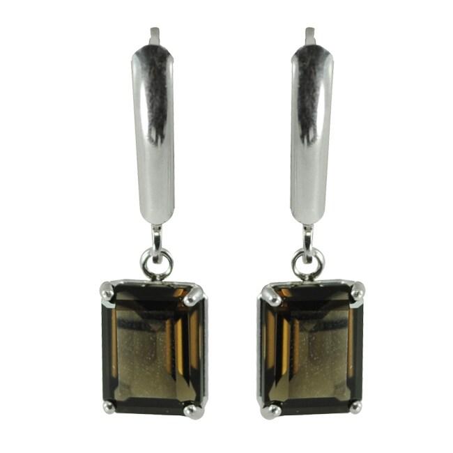 Gems For You Sterling Silver Smokey Quartz Leverback Earrings