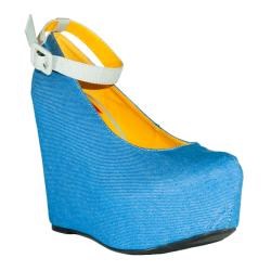 Fahrenheit Women's 'Mica-05' Blue Ankle Strap Wedge Pumps