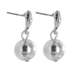 Roman Silvertone Antiqued Ball Dangle Earrings
