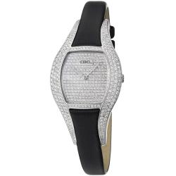 Ebel Women's 'Moonchic' Diamond Pave Dial Black Satin Strap Watch