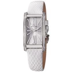 Maurice Lacroix Women's 'Fiaba' Silver Diamond Dial White Strap Watch
