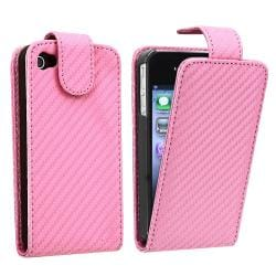 BasAcc Pink Carbon Fiber Leather Case for Apple iPhone 4/ 4S