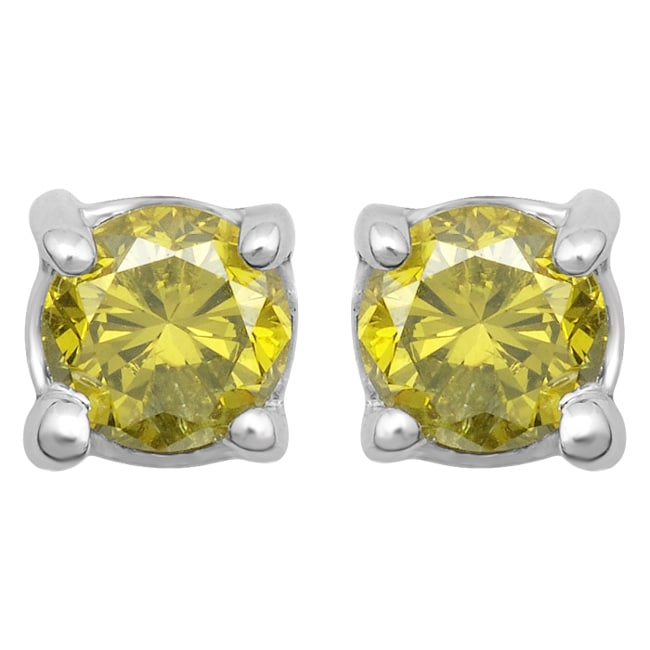 10k White Gold 1/4ct TDW Treated Yellow Diamond Stud Earrings