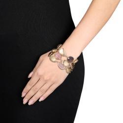 Miadora Goldplated Grey Agate and Rose Quartz 7.75-inch Bracelet
