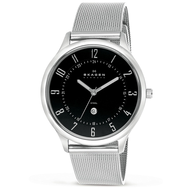 Skagen Men's Ultra Slim Black Dial Mesh Band Watch