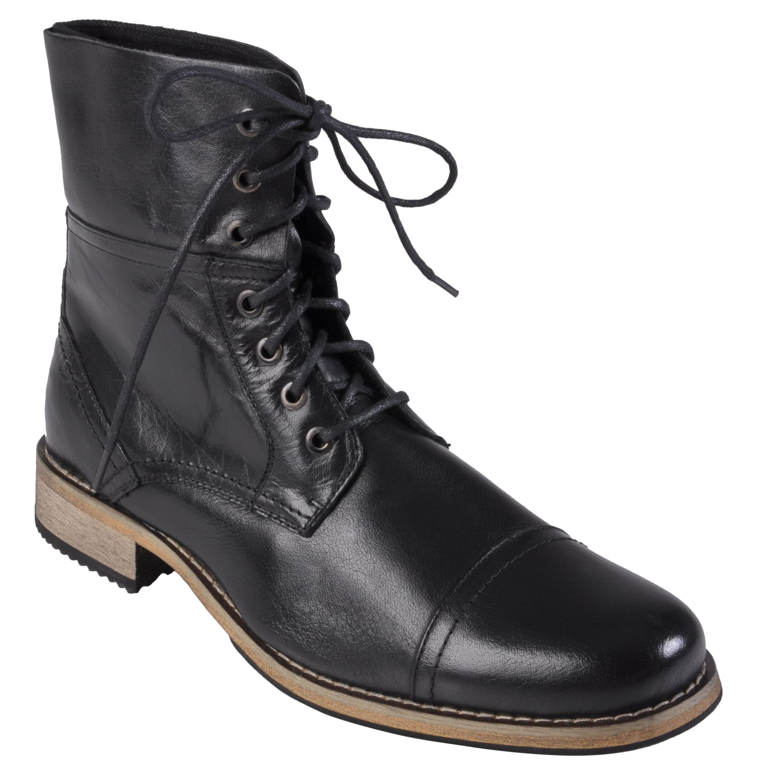 Oxford & Finch Men's Topstitched Leather Lace-up Boots