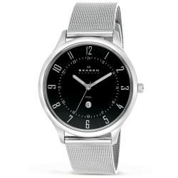 Skagen Men's Ultra Slim Black Dial Mesh Band Watch