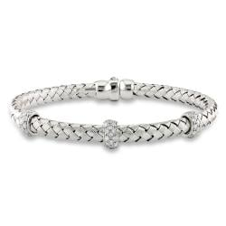 14k White Gold 1/2ct TDW Diamond Basketweave Bangle (G-H, SI1-SI2)
