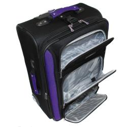 Bell + Howell Purple Quick Access 4-piece Expandable Luggage Set