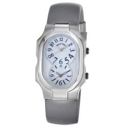 Philip Stein Women's 'Signature' Platinum Silk Strap Dual Time Watch