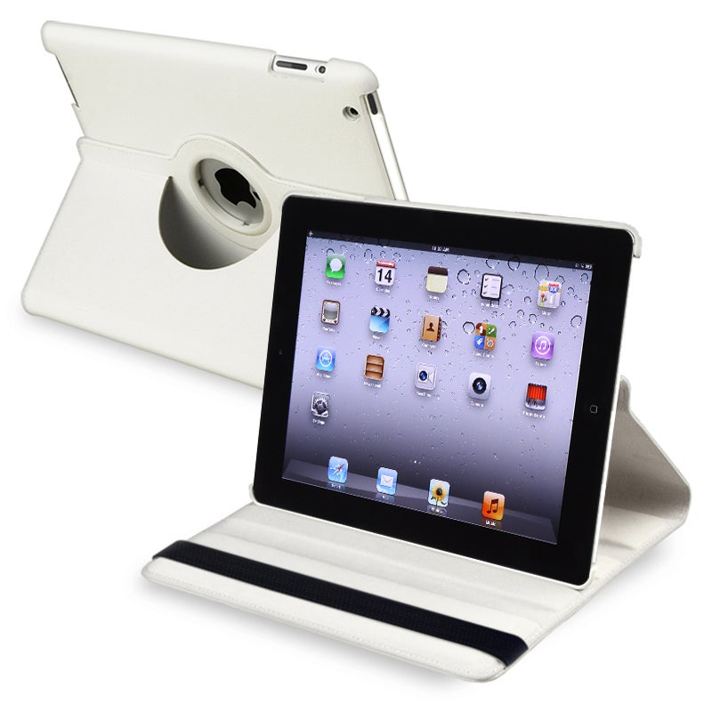 White 360-degree Swivel Leather Case for Apple iPad 2/ 3