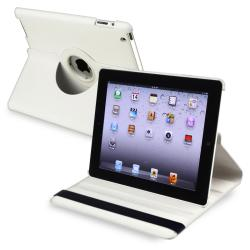 White 360-degree Swivel Leather Case for Apple iPad 2/ 3