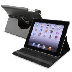 Black 360-degree Swivel Leather Case for Apple iPad 2/ 3