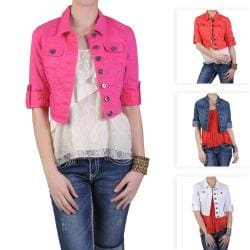 Journee Collection Junior's Cropped Fashion Denim Jacket