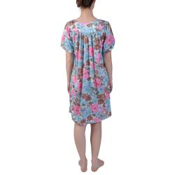 Journee Collection Women's Plus Floral Print Knee Length House Dress