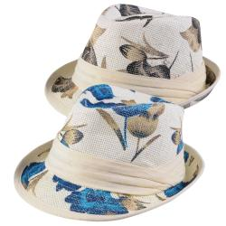 Journee Collection Women's Flower Print Straw Fedora Hat