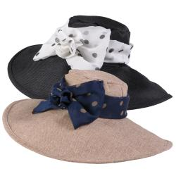 Journee Collection Women's Wide Brim Polka-dot Accent Sunhat