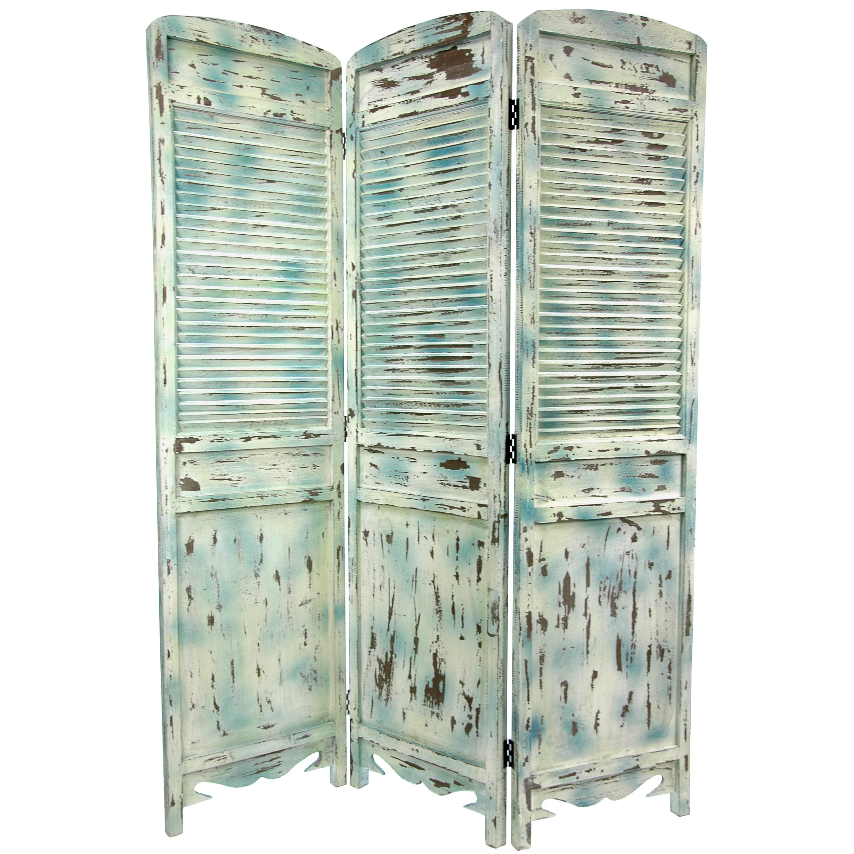 Rustic Venetian Cafe 5.5-foot Three-panel Wood Room Divider (China)