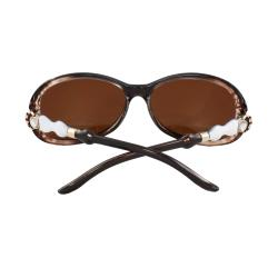 Oval Fashion Sunglasses Polarized Brown and White 2tone Frame Brown Lenses for Women