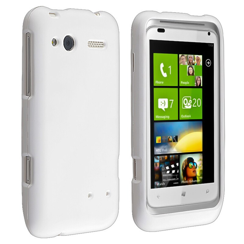 White Snap-on Rubber Coated Case for HTC Radar