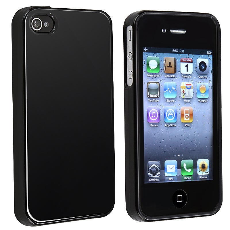 BasAcc Glossy Black TPU Rubber Skin Case for Apple iPhone 4/ 4S