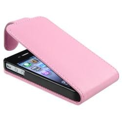 BasAcc Pink Leather Case for Apple iPhone 4/ 4S