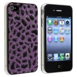 Purple Furry Leopard Snap-on Case for Apple iPhone 4/ 4S
