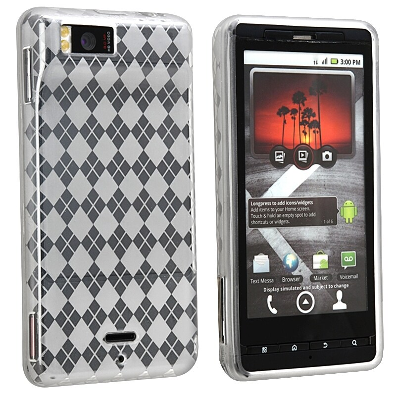 BasAcc Clear White Argyle TPU Case for Motorola Droid Xtreme MB810