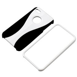 BasAcc White/ Black Snap-on Rubber Coated Case for Apple iPhone 4/ 4S