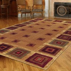New Wave Cabin Blocks Tan Rug (5' x 8')