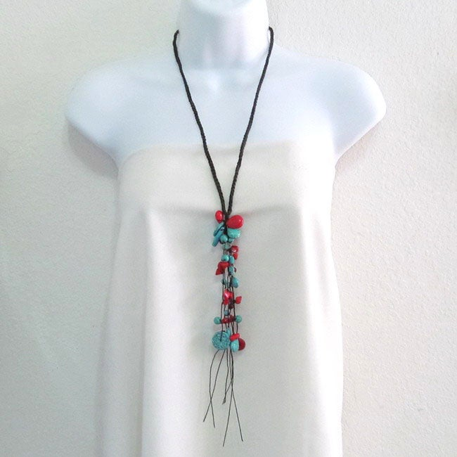 Long Dangle Cluster Turquoise-Coral Wax Rope Necklace (Thailand)