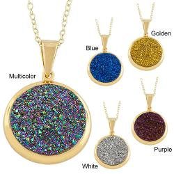 Yellow-gold over Sterling Silver Round Druzy Pendant Necklace