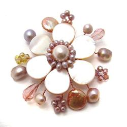 Cute Mother of Pearl-Freshwater Pink Pearl Floral Ray Pin-Brooch (Thailand)