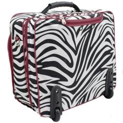 World Traveler Red Trim Zebra Fashion Print Women's Rolling 17-inch Laptop Case