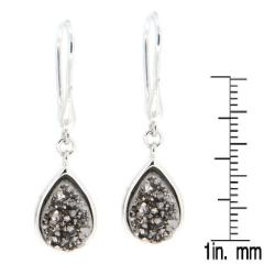 Pearlz Ocean Sterling Silver Pear-cut Druzy Dangle Earrings