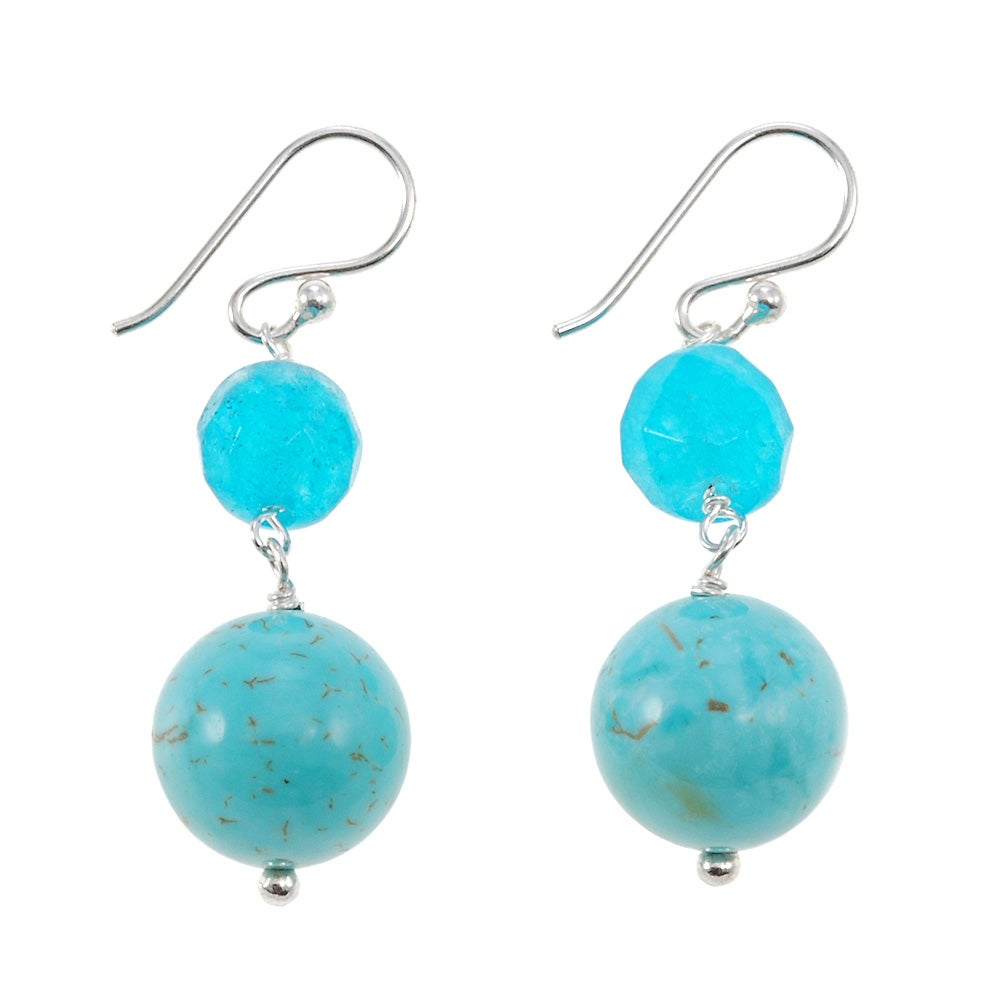 Sterling Silver Blue Jade and Turquoise Howlite Earrings (Thailand)
