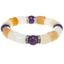 Purple Quartz & Yellow Aventurine Bangle Bracelet (China)