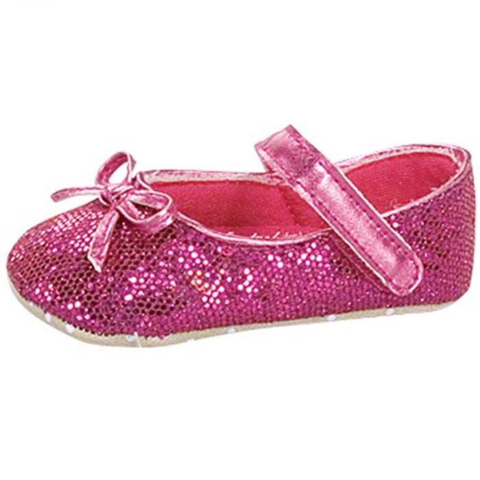 Baby Girl Pink Glitter Crib Shoes