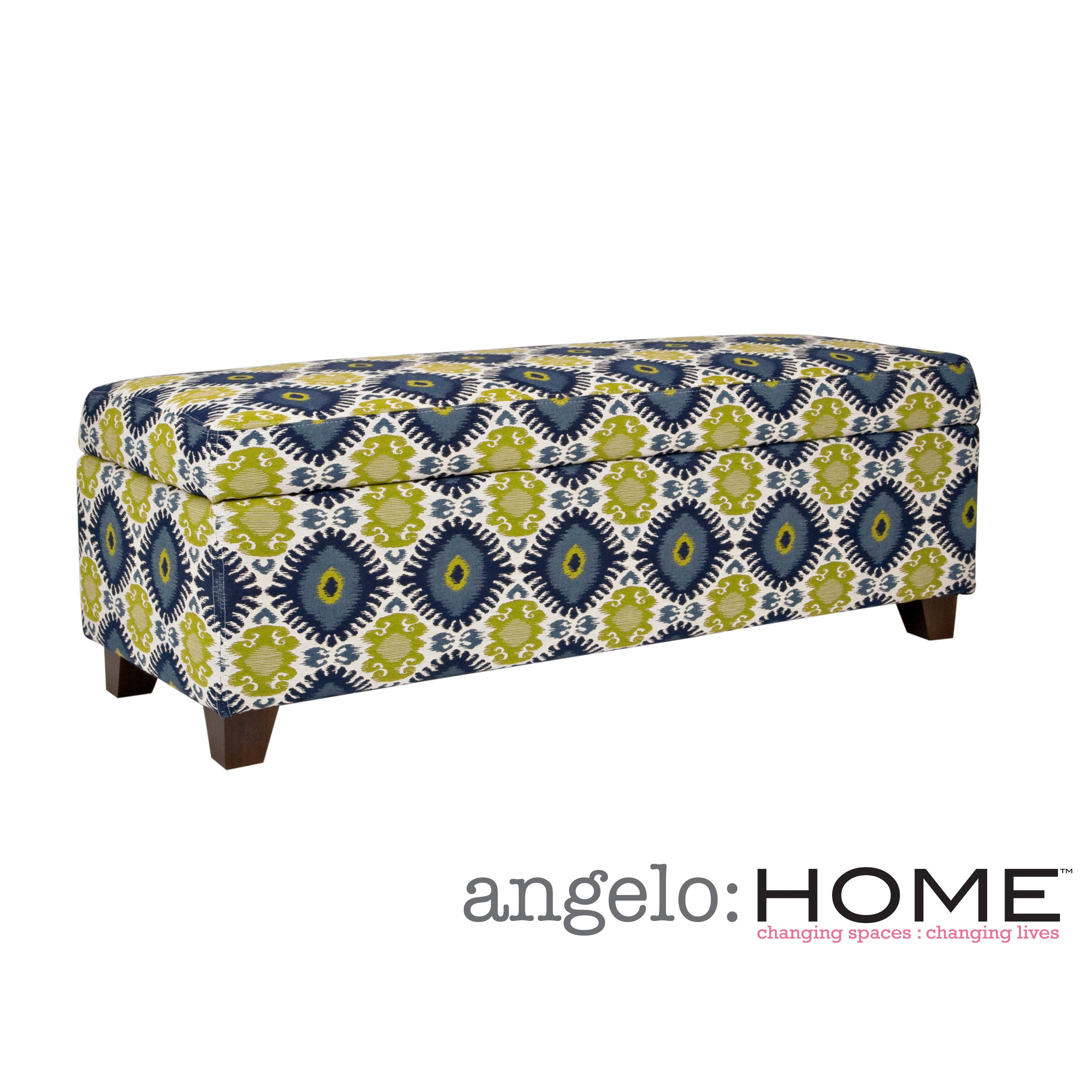 Angelohome angelo:HOME Kent Retro Blue-Green Geometric Burst Wall Hugger Trunk Storage Ottoman at Sears.com