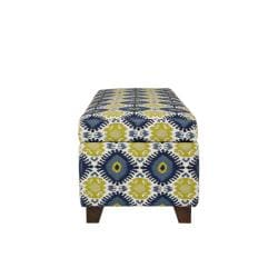angelo:HOME Kent Retro Blue-Green Geometric Burst Wall Hugger Trunk Storage Ottoman