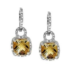 Moise Sterling Silver Citrine and 1/8ct TDW Diamond Earrings (H-I, I2-I3)